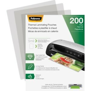 Fellowes Laminating Pouches Letter 5 Mil 200 Pack 8 50 X 11 Laminating Pouch