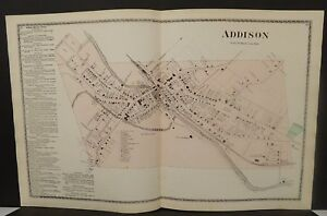 New York Steuben County Map Addison 1873 Double Page J20 88