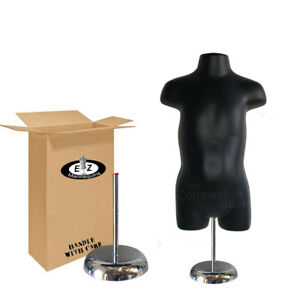 Black Toddler Hollow Back Mannequin Form With 6 Deluxe Metal Base
