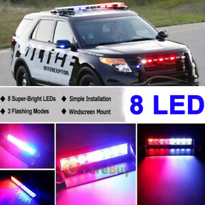 Red Blue 8 Led Car Dash Strobe Light Flash Emergency Police Warning Safety Lamp