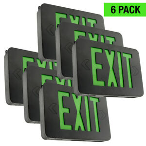 Led Black Green Exit Sign Slim Low Profile With Battery Backup 6pack