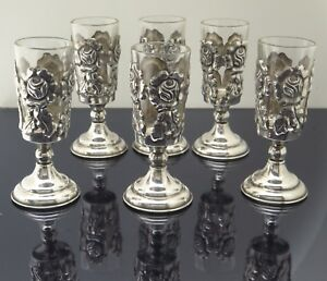 Taxco Mexico Sterling Silver Rose Glass Stemmed Cordial Shot Cups 70 6g Set Of 6
