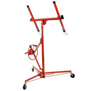 11 rolling Drywall Lift Panel Hoist Dry Wall Jack Foot Stops Built in Winch Tool