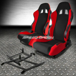 Black Red Fully Reclinable Racing Seat Low Mount Bracket For 03 09 Nissan 350z Z