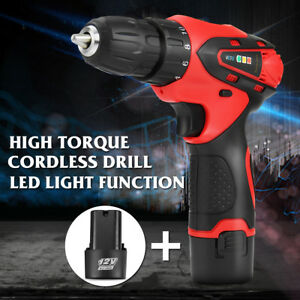12v Cordless Electric Drill Driver Screw Two speed Li ion Screwdriver 2 Battery