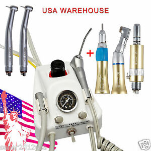 Dental Portable Air Turbine Unit Sn4 High Low Speed Handpieces Kit 4 Hole Gold