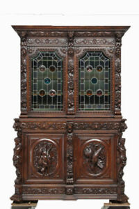 Extraordinary Antique French Hunt Cabinet With Leaded Glass 19th Century