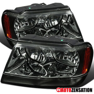 For 1999 2004 Jeep Grand Cherokee Smoke Headlights Lamps Left Right 00 01 02 03