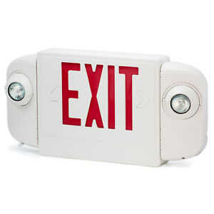Slim Low Profile Led Exit Sign Red White With Battery Backup