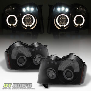 Blk Smoked 2005 2007 Jeep Grand Cherokee Led Halo Projector Headlights Headlamps