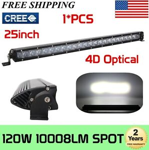 25inch 120w Single Row Led Light Bar Slim Spot 4d Toyota Boat Ford Truck 24