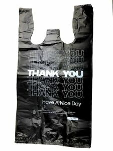 T shirt Shopping Bags Thank You Grocery Plastic Reusable Large 1000 Pcs Blk