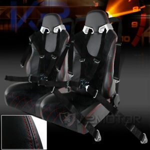 2x Black Suede Pvc Leather Check Pattern Racing Seats Black 4 Pt Seat Belts