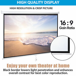 100 Diagonal 16 9 Projection Projector Screen Hd Manual Pull Down Home Theater