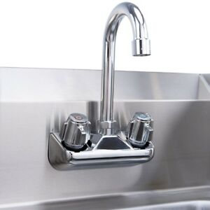 Home Wall Mount Stainless Steel Hand Washing Sink W chrome Gooseneck Faucet Us