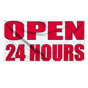 Open 24 Hours 2 Outdoor Advertising Printing Vinyl Banner Sign With Grommets