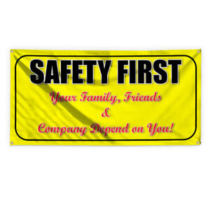 Safety First Outdoor Advertising Printing Vinyl Banner Sign With Grommets