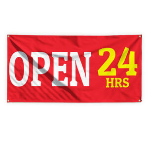 Open 24 Hrs 2 Outdoor Advertising Printing Vinyl Banner Sign With Grommets