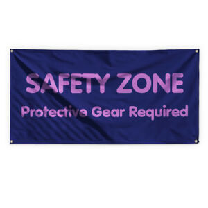 Safety Zone Outdoor Advertising Printing Vinyl Banner Sign With Grommets