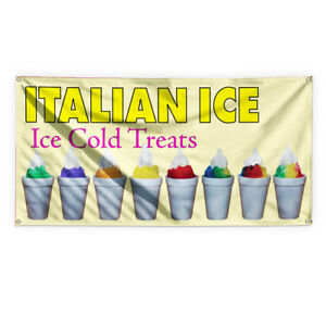 Italian Ice Ice Cold Treats Vinyl Banner Sign With Grommets