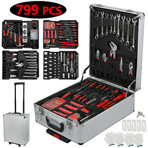 799 piece Rolling Hand Tool Set Kit W Trolley Case Metric Sockets Wrenches