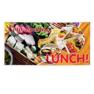 Now Serving Lunch 2 Advertising Printing Vinyl Banner Sign With Grommets