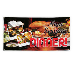Now Serving Dinner 4 Advertising Printing Vinyl Banner Sign With Grommets