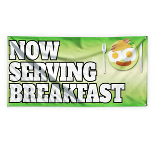 Now Serving Breakfast 3 Advertising Printing Vinyl Banner Sign With Grommets