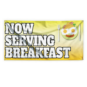 Now Serving Breakfast 2 Advertising Printing Vinyl Banner Sign With Grommets