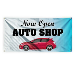 Now Open Auto Shop Advertising Printing Vinyl Banner Sign With Grommets