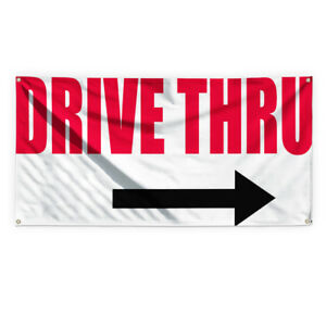 Drive Thru 1 Outdoor Advertising Printing Vinyl Banner Sign With Grommets