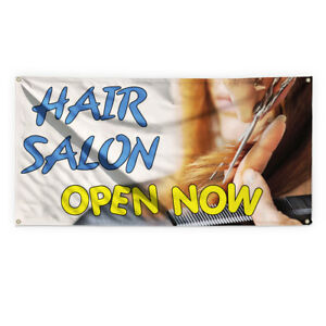 Hair Salon Now Open Advertising Printing Vinyl Banner Sign With Grommets