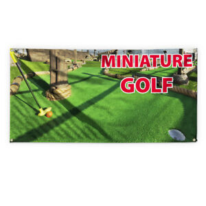 Miniature Golf Outdoor Advertising Printing Vinyl Banner Sign With Grommets