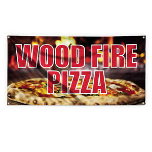 Wood Fire Pizza Outdoor Advertising Printing Vinyl Banner Sign With Grommets
