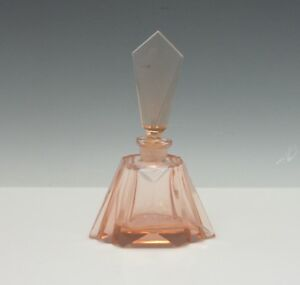 Art Deco Cut Peach Glass Perfume Scent Bottle C 1920 S