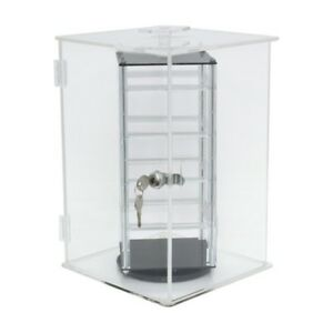 Revolving Locking Rotating 4 Sided Short Earring Jewelry Display Case Free Cards