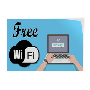 Free Wi Fi Indoor Store Sign Vinyl Decal Sticker