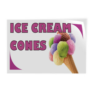 Ice Cream Cones 1 Indoor Store Sign Vinyl Decal Sticker