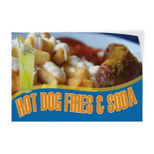 Hot Dog Fries Soda Indoor Store Sign Vinyl Decal Sticker