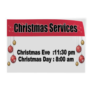 Christmas Services Hours And Dates Indoor Store Sign Vinyl Decal Sticker