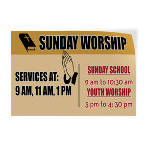 Sunday Worship Service Hours Indoor Store Sign Vinyl Decal Sticker