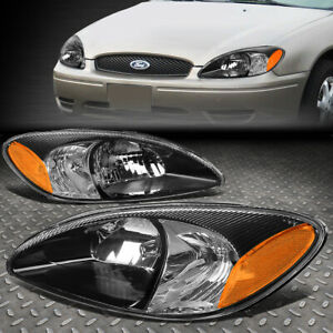For 00 07 Ford Taurus Pair Black Housing Amber Corner Driving Headlight lamps