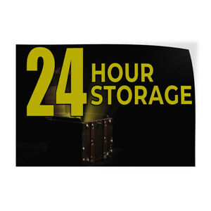 24 Hour Storage Indoor Store Sign Vinyl Decal Sticker