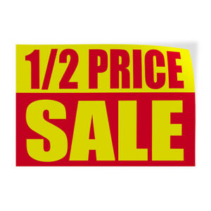 1 2 Price Sale 1 Indoor Store Sign Vinyl Decal Sticker