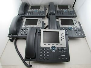 Lot Of 5 Cisco Cp 7965g 7950 Unified Ip Phone Sip Sccp Telephone Coil Handset
