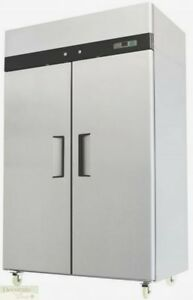 52 Freezer Two Solid Doors Restaurant 44 Cu Ft Stainless Auto defrost Nsf New