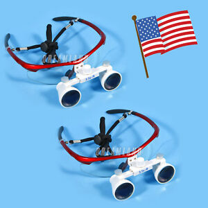 2pcs Usa Dental Surgical Binocular Loupes Glasses Lens Magnifier 3 5x Red Color
