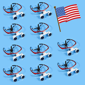 10pcs Usa Dental Surgical Binocular Loupes Glasses Lens Magnifier 3 5x Red Color