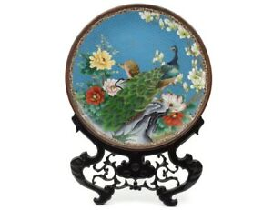 Huge 20 1 2 Chinese Cloisonne Charger With Peacocks