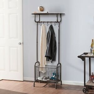 Metal Storage Coat Rack With Coat Hooks And Removable Bin